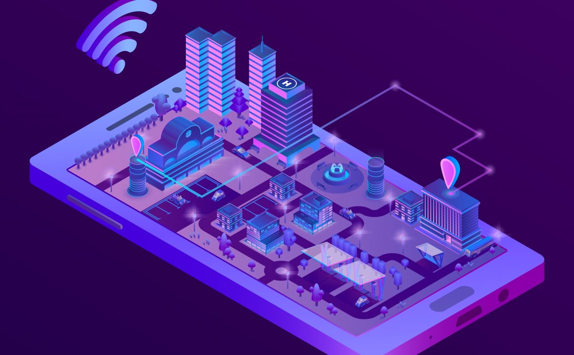 Vector isometric smart city on smartphone screen