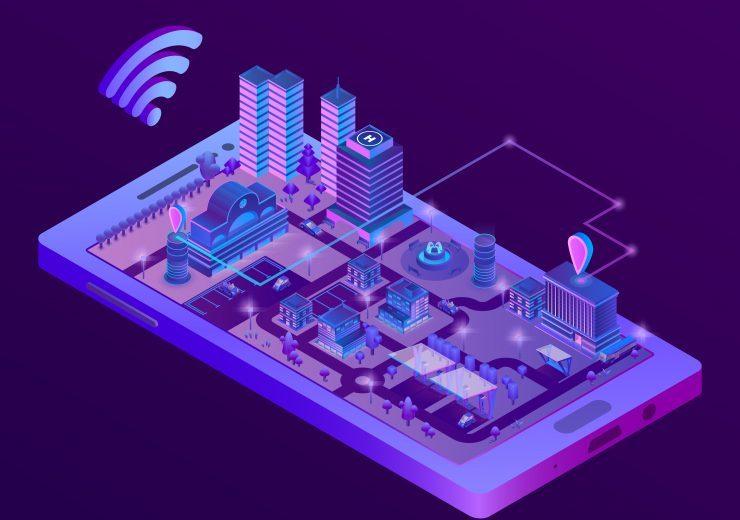 Vector isometric smart city on smartphone screen